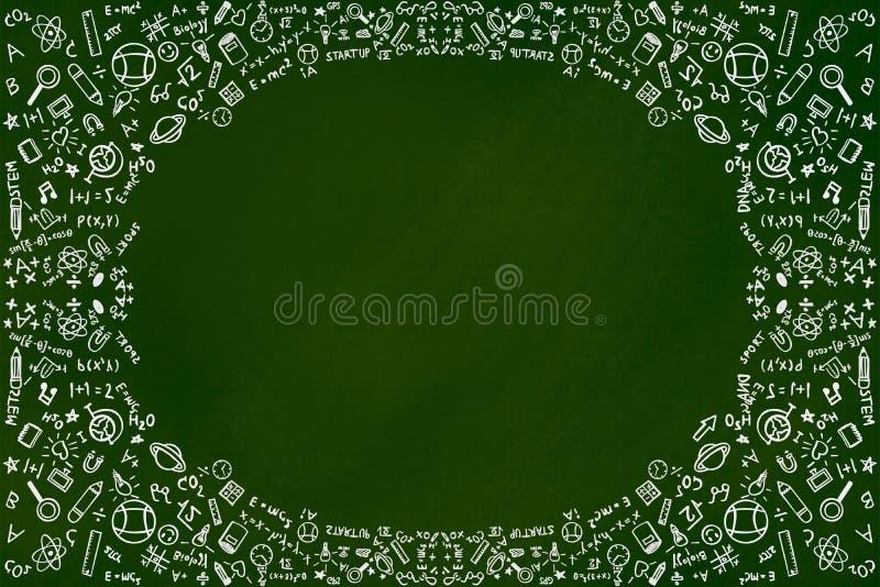 教育乱画背景在绿色黑板的概念和拷贝空间 向量例证