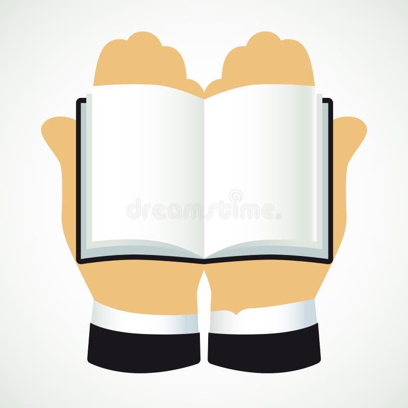 教育传染媒介略写法 打开与页和棕榈的书 抽象向量例证 我 Q 讲道,手象征 在 向量例证