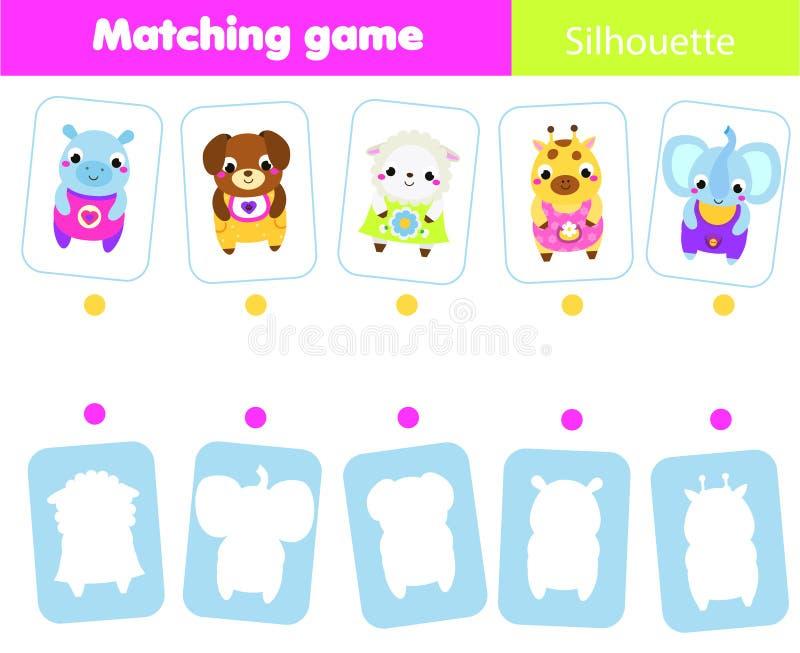 教育儿童比赛 与剪影的比赛动物 小孩的乐趣页 研究形状和阴影 皇族释放例证