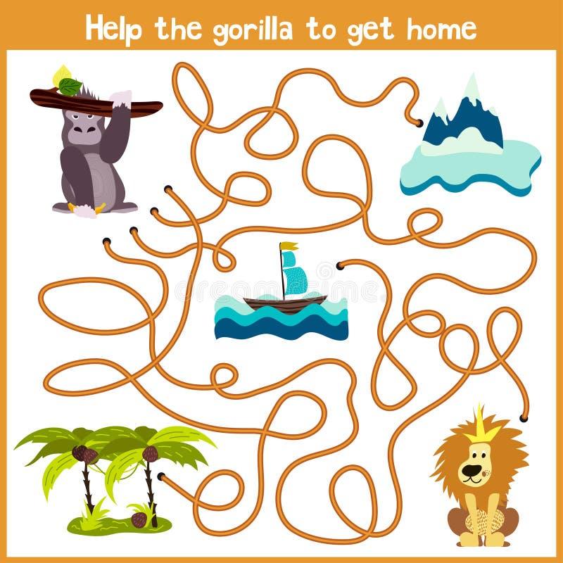 教育动画片将继续五颜六色的动物的逻辑方式家 在热带密林o帮助我得到大猩猩家 库存例证