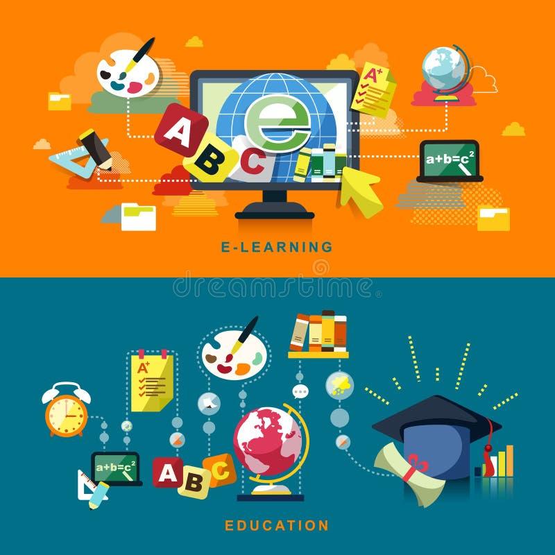 教育和在网上学会的平的设计 向量例证