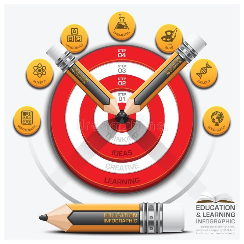 教育和学习步Infographic与铅笔掷镖的圆靶Su 库存例证