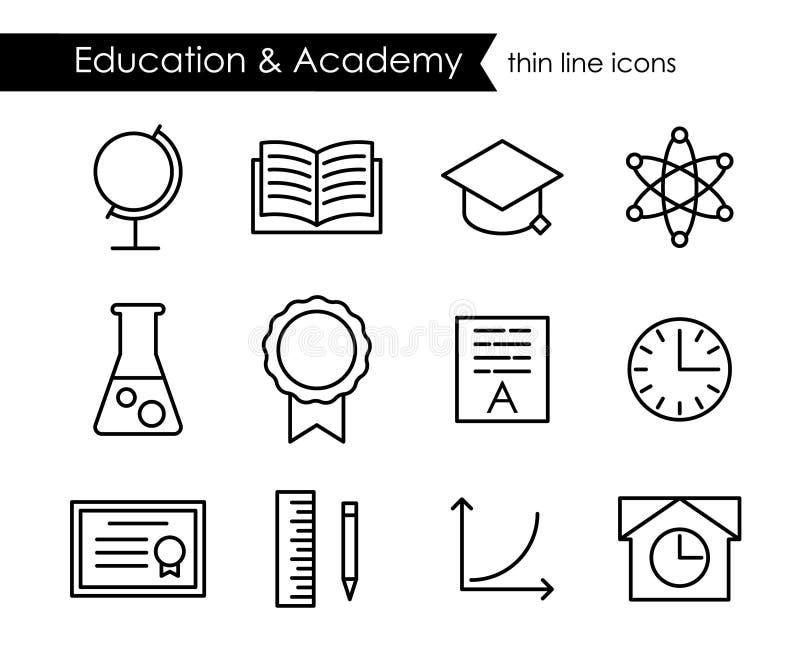 教育和学院稀薄的线概述象 库存例证