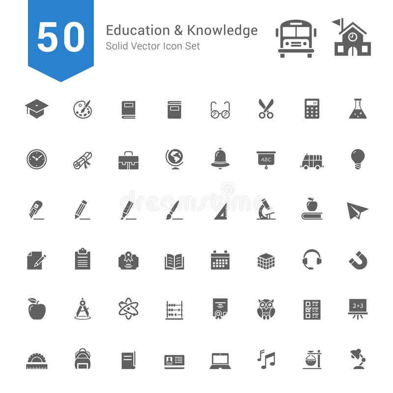 教育和知识象集合 50个坚实传染媒介象 向量例证