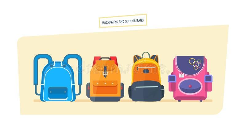 教育和研究,书包行李,有学校用品的背包 皇族释放例证