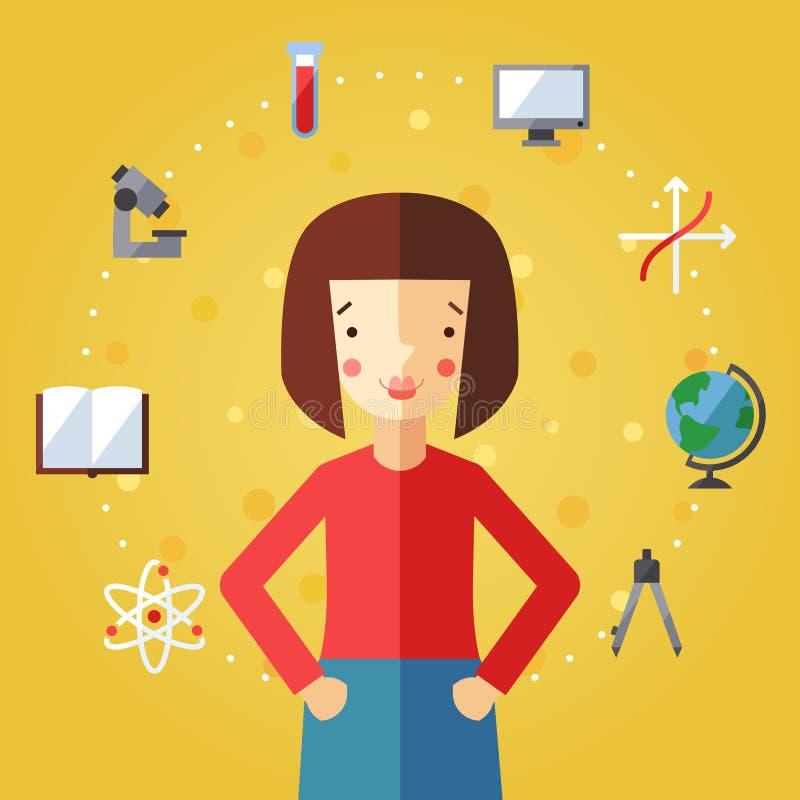 教育和科学与深色的突然移动头发女孩的传染媒介背景 向量例证