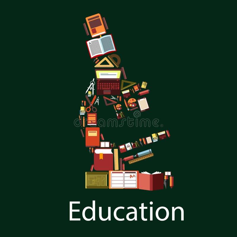 教育和科学显微镜标志 向量例证