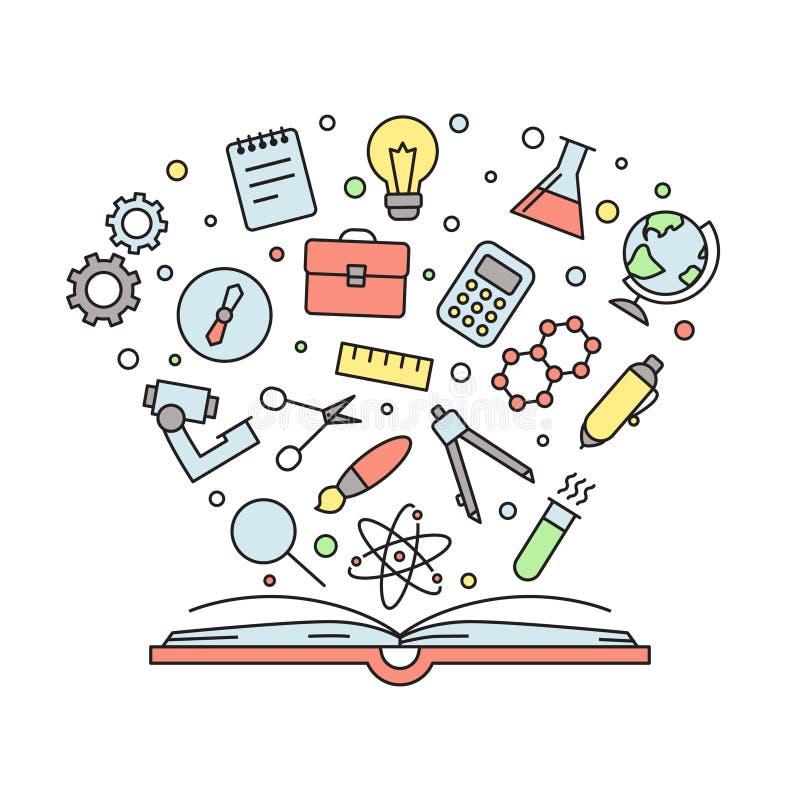 教育和科学概述与书的多彩多姿的传染媒介例证 皇族释放例证