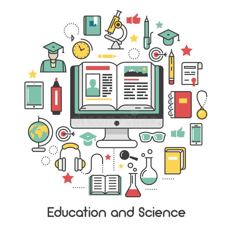 教育和科学线艺术变薄象 向量例证