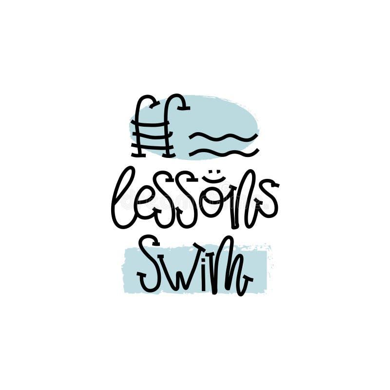 教育和评估概念 手文字商标教训在白皮书游泳 在视图之上 向量 向量例证