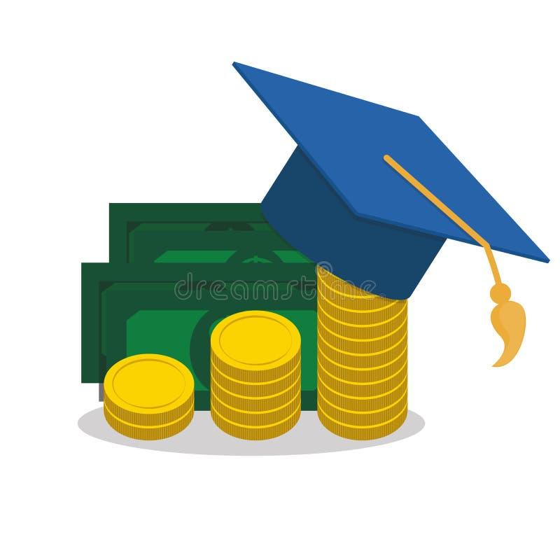 教育和金钱、毕业帽子和硬币兑现概念平的传染媒介例证 库存例证