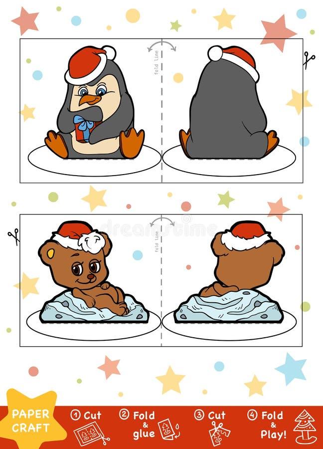 教育圣诞节孩子、企鹅和熊的纸工艺 库存例证