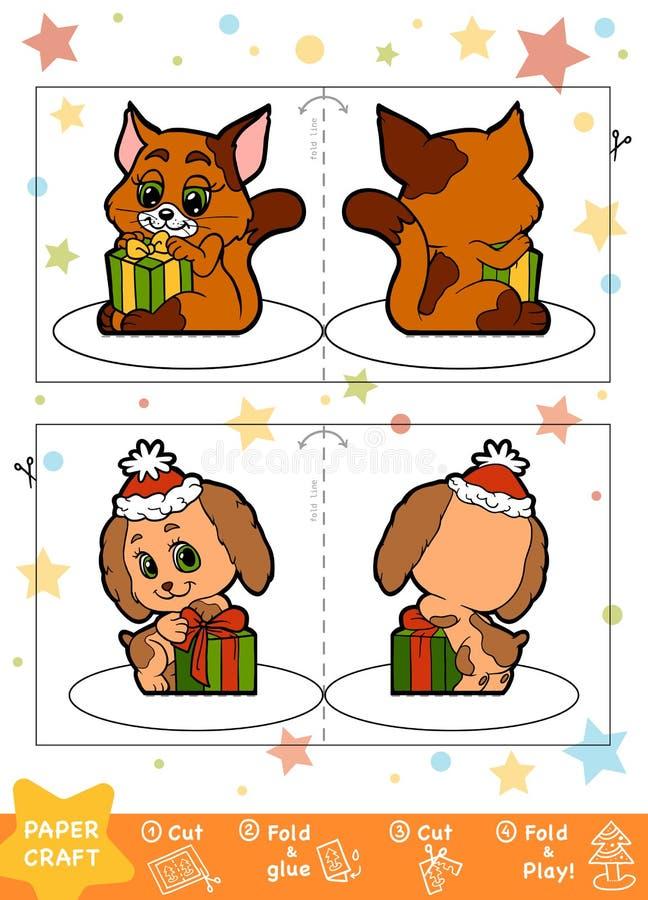 教育圣诞节孩子、狗和猫的纸工艺 库存例证