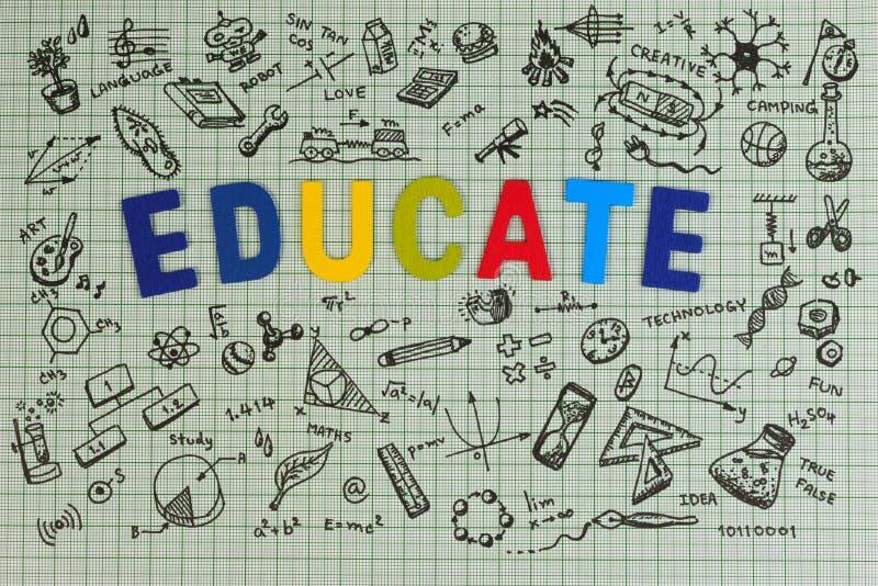 教育在笔记本的剪影设计有拷贝空间的 被设置的教育概念想法的乱画象 库存照片