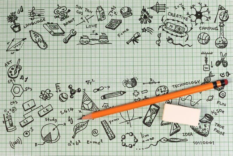 教育在笔记本的剪影设计有拷贝空间的 被设置的教育概念想法的乱画象 图库摄影