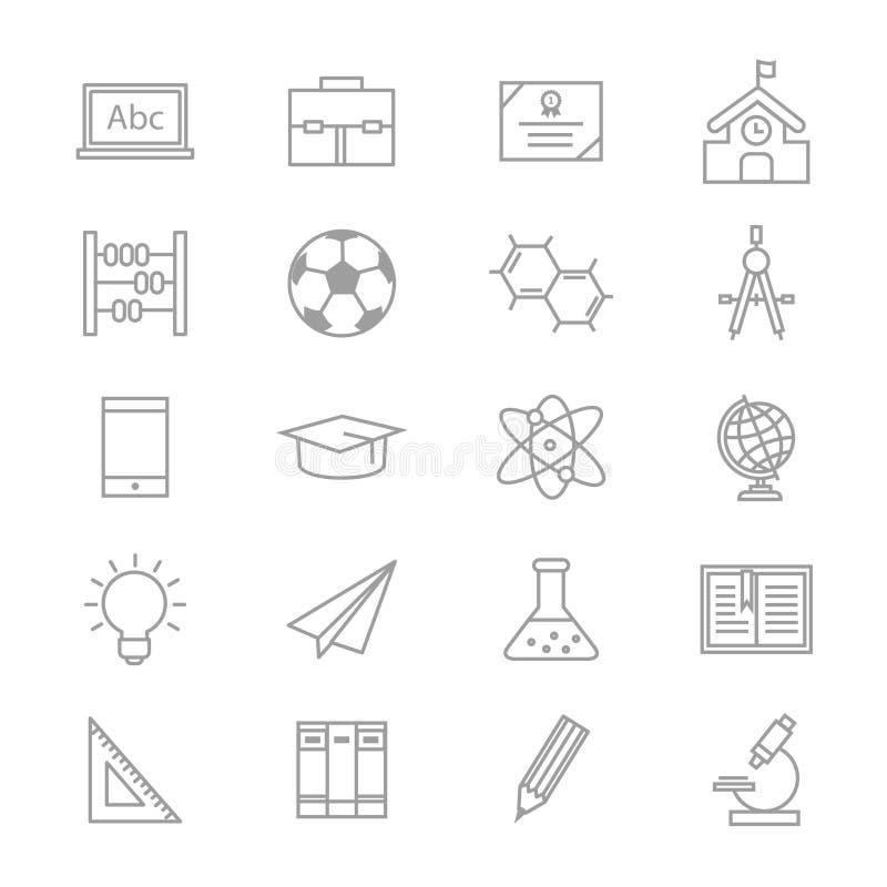 教育学校和科学象线传染媒介例证套  向量例证