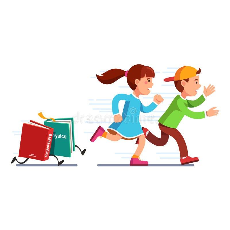 教育学生跑从书的女孩和男孩 库存例证