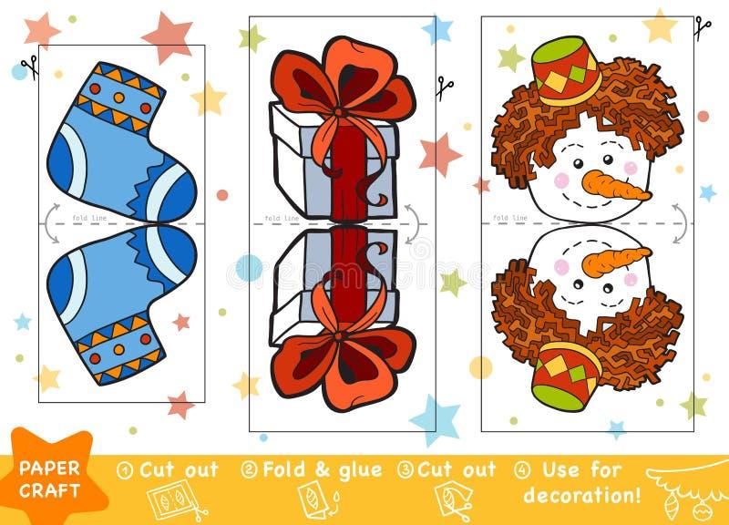 教育孩子、圣诞节礼物和雪人的纸工艺 库存例证