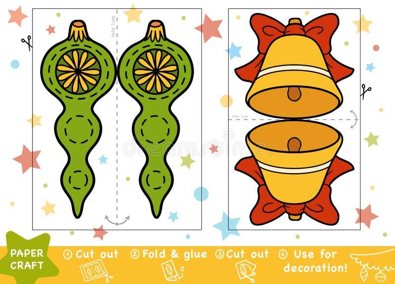 教育孩子、圣诞节铃声和玩具的纸工艺 向量例证