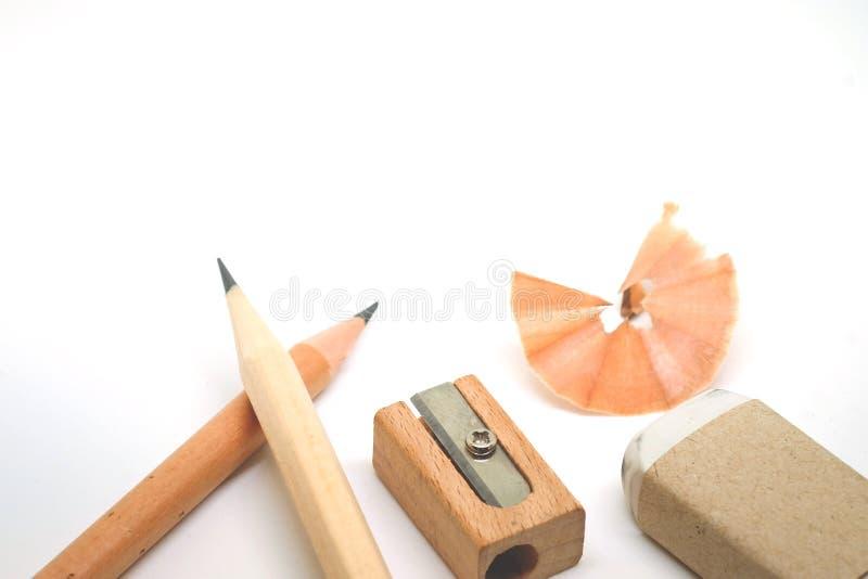 教育工具、铅笔、小块橡皮擦和磨削器 免版税库存图片