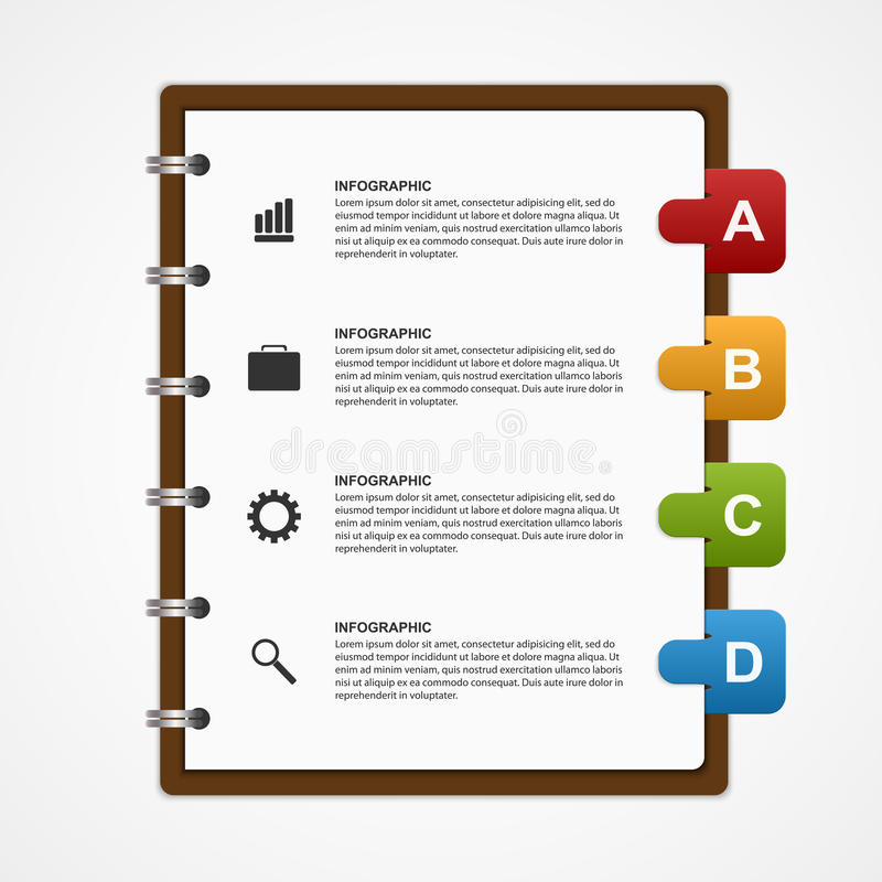 教育或企业Infographic设计元素的纸笔记本 库存例证