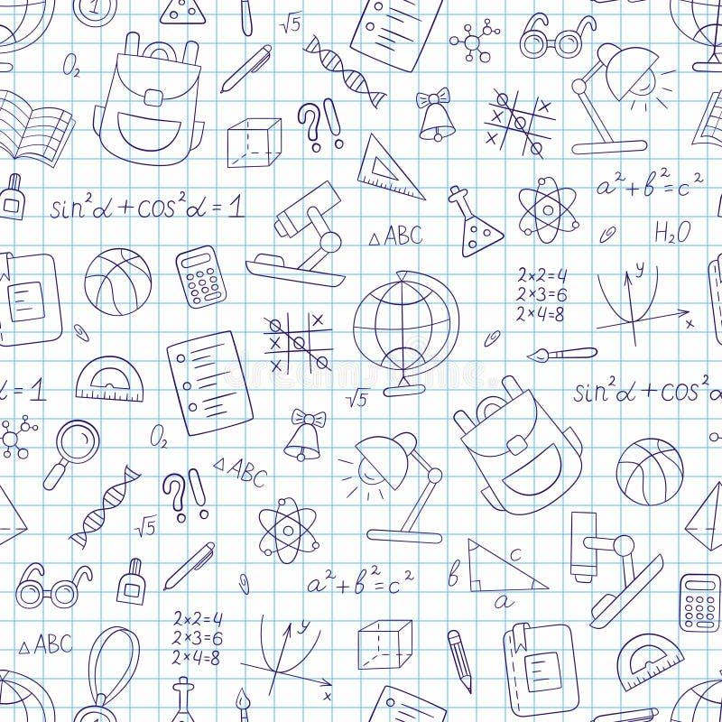 教育无缝的样式在乱画和动画片样式 在笼子的笔记本 向量例证