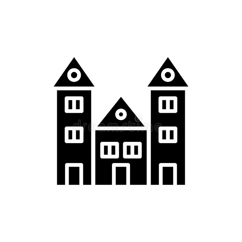 教育机构黑色象概念 教育机构平的传染媒介标志,标志,例证 皇族释放例证