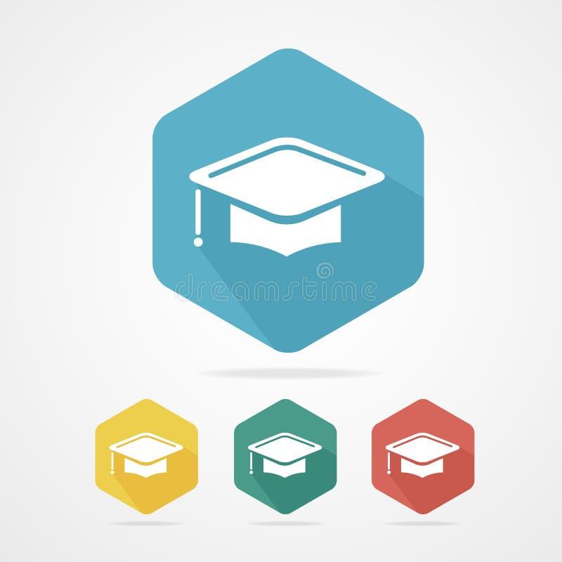 教育杯平的象 背景盖帽毕业查出的白色 向量例证