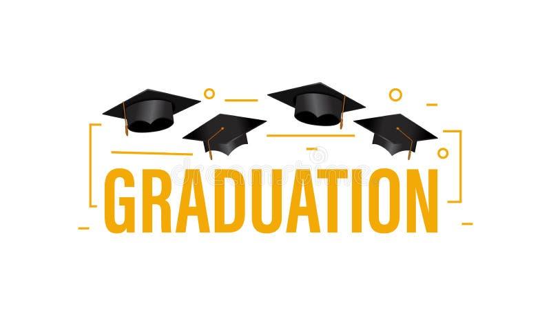 教育概念与盖帽和概述装饰的毕业派对横幅 库存例证