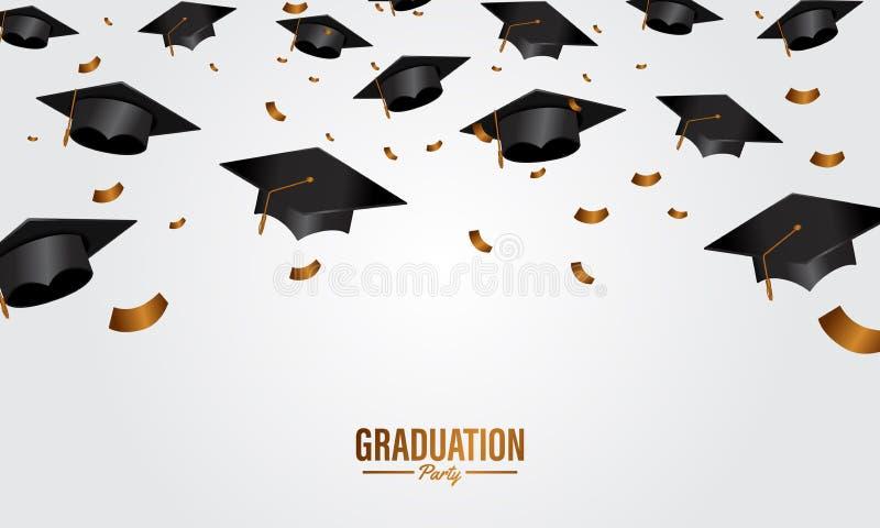 教育概念与盖帽和金黄五彩纸屑落的毕业派对横幅 库存例证