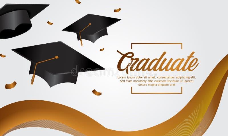 教育概念与盖帽和金黄横幅丝绸的毕业派对横幅 向量例证