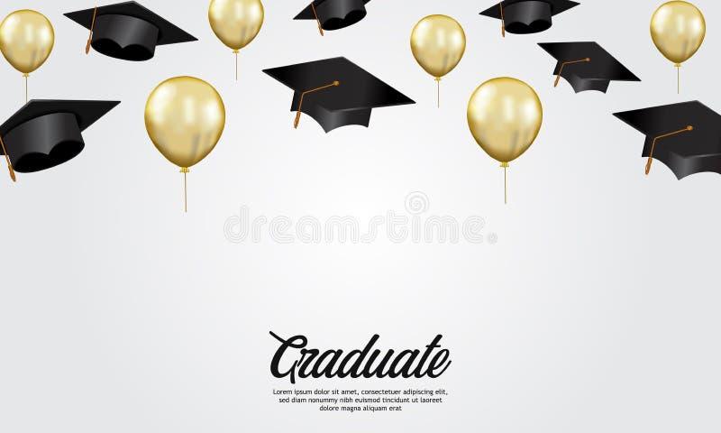 教育概念与盖帽和金黄氦气气球的例证的毕业派对横幅 库存例证