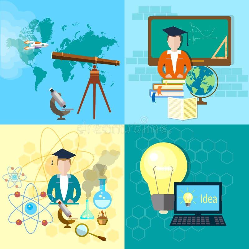 教育概念学生天文化学集合 向量例证