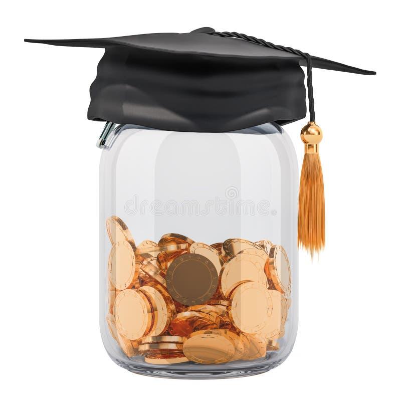 教育概念的储款金钱 在玻璃j里面的金黄硬币 向量例证