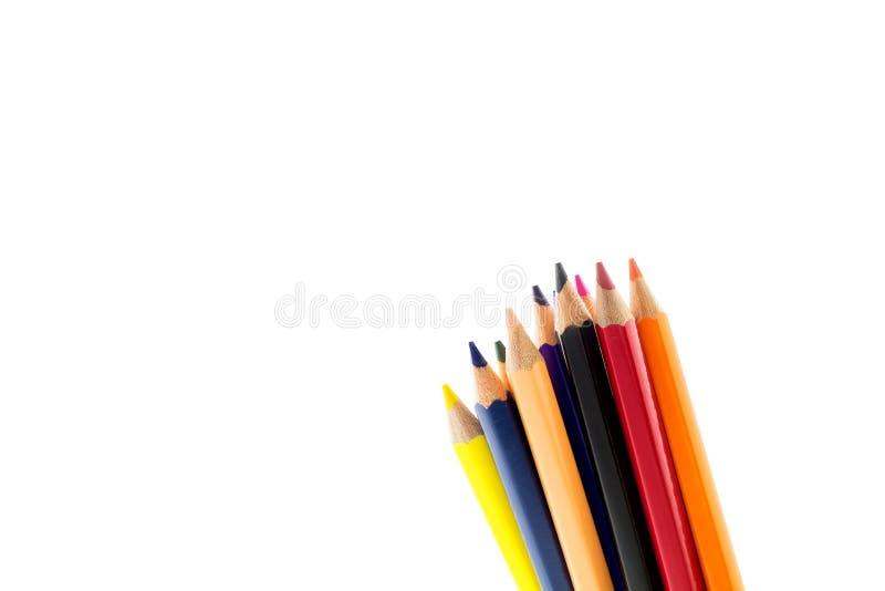 教育概念,在白色背景的铅笔 图库摄影