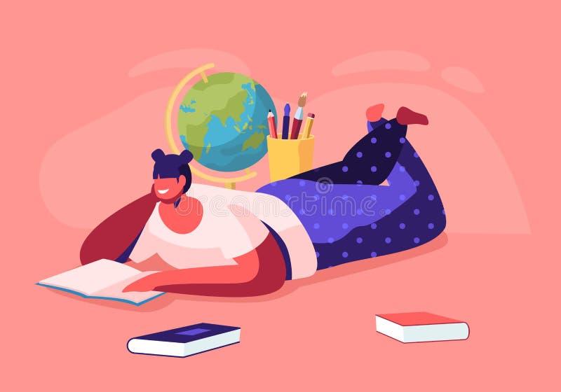 教育概念,说谎在与学校文具的地板看书的女孩,学院或者大学生,回到学校 库存例证