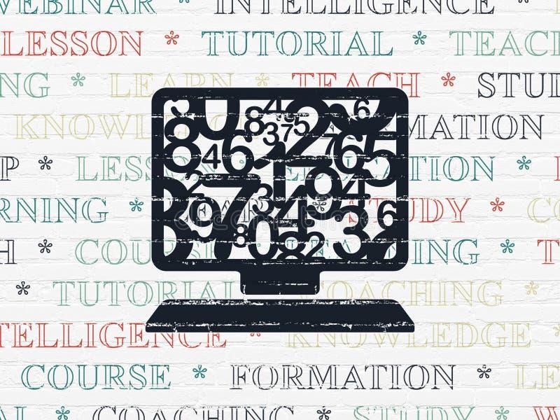 教育概念:在墙壁背景的计算机个人计算机 皇族释放例证