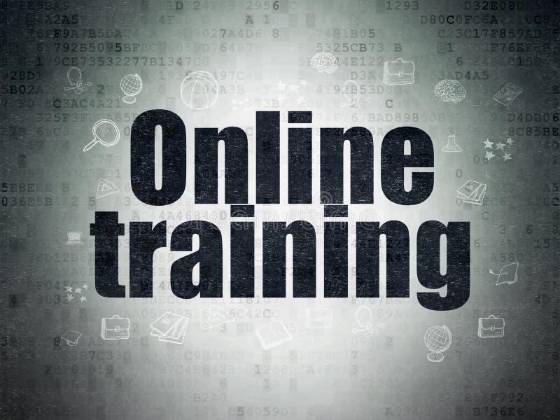 教育概念:在数字资料纸背景的网上训练 皇族释放例证