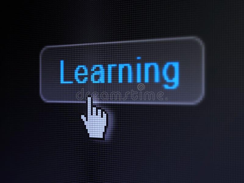 教育概念:学会在数字式按钮背景 库存图片