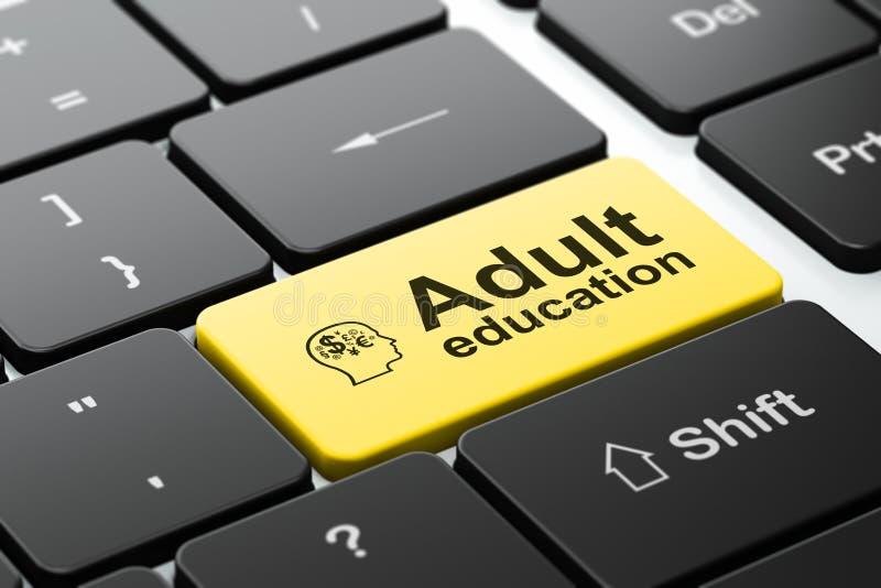 教育概念:朝向与财务标志和成人教育在键盘背景 图库摄影