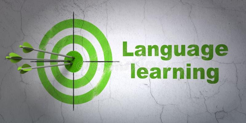 教育概念:目标和语言学习在墙壁背景 皇族释放例证