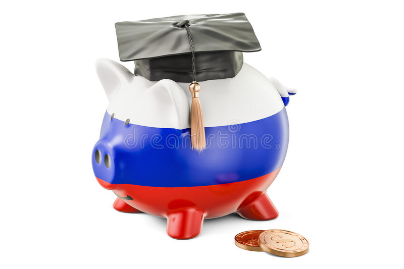 教育的储款在俄罗斯概念, 3D翻译 库存例证