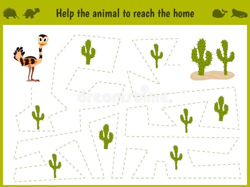 教育的动画片例证 学龄前孩子的相配的比赛在沙漠追踪驼鸟的道路 教育和gam 库存例证