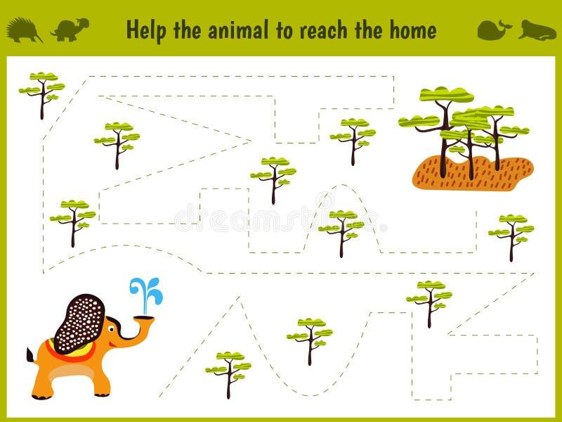 教育的动画片例证 学龄前孩子的相配的比赛追踪大象的道路在大草原的 教育 库存例证