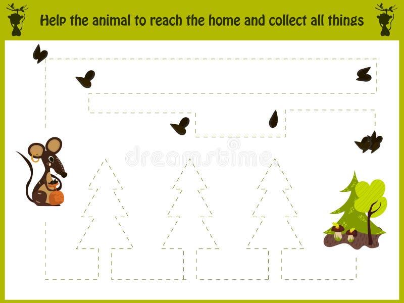 教育的动画片例证 学龄前孩子的相配的比赛追踪老鼠的道路入森林和 向量例证