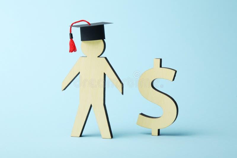 教育的金钱贷款 学院和学院资金概念 库存图片