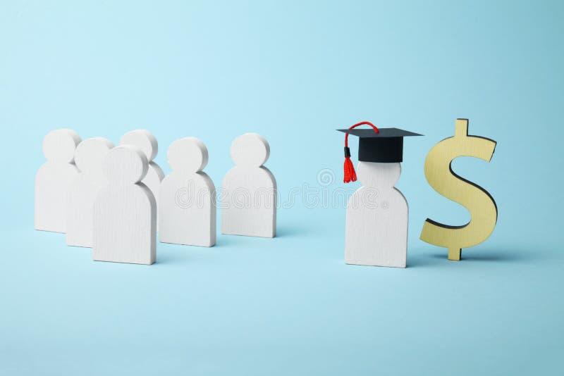 教育的金钱贷款 学院和学院资金概念 免版税库存照片