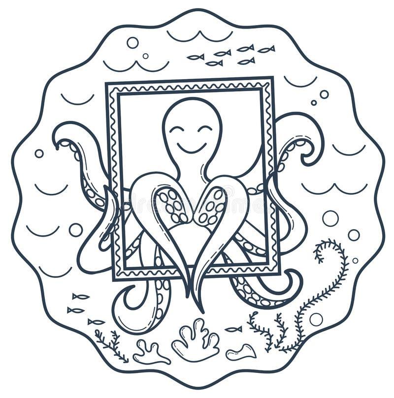 教育章鱼的商标 库存例证