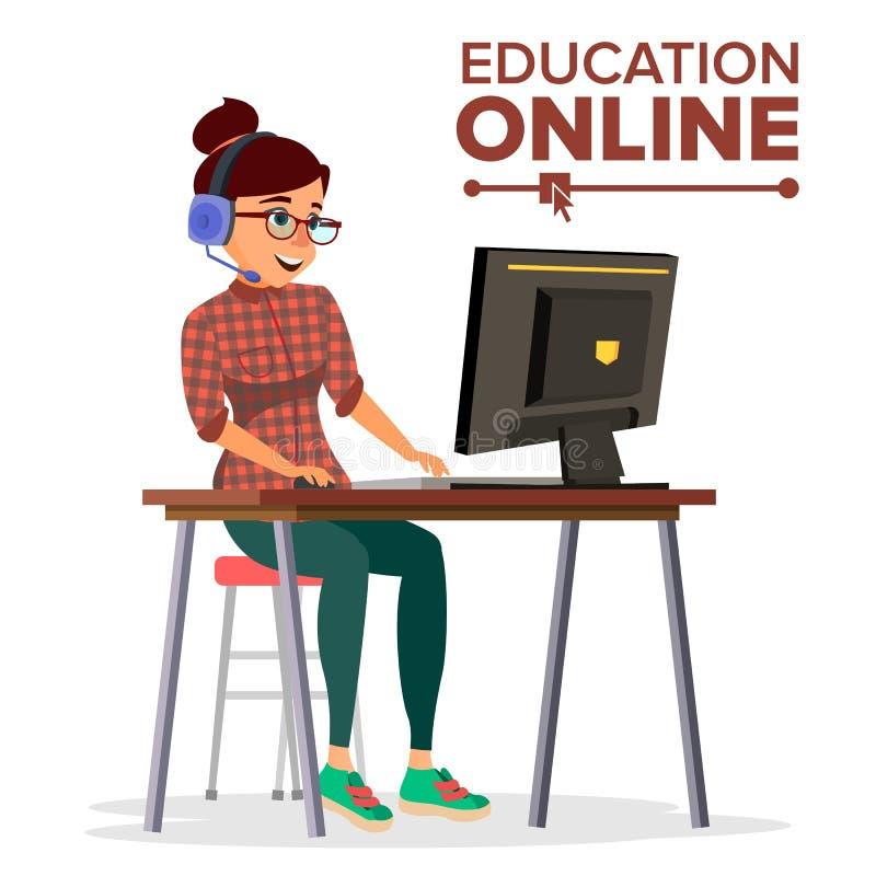 教育网上传染媒介 家庭网上教育服务 耳机的少妇与计算机一起使用 了解现代 向量例证