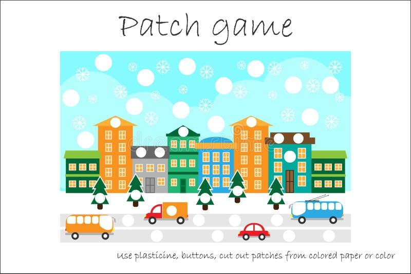 教育补丁开发的孩子的比赛圣诞节能运动技巧、用途彩色塑泥补丁、按钮、的彩纸或者的颜色 库存例证